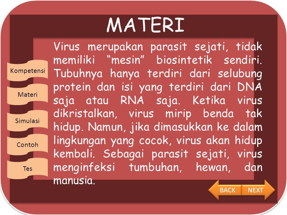 Kompetensi Materi Simulasi Contoh Tes KOMPETENSI 1.Siswa mampu mendeskripsikan ciri-ciri dan replikasi virus 2.Siswa dapat mengetahui peranan virus dalam kehidupan BACK NEXT