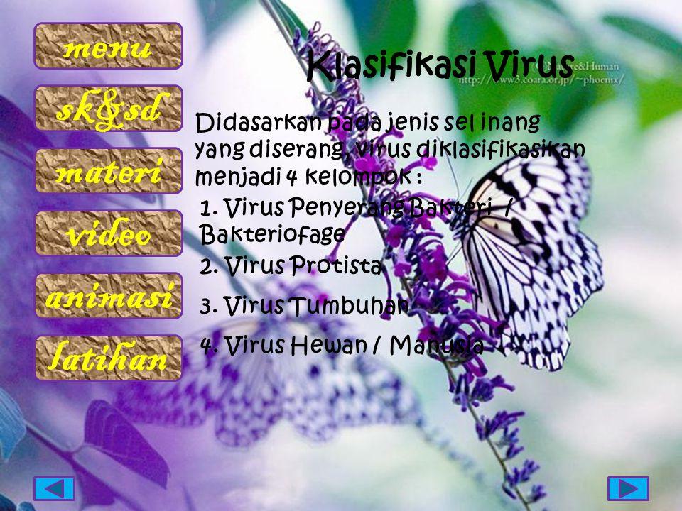 menu sk&sd materi video animasi latihan Didasarkan pada jenis sel inang yang diserang, virus diklasifikasikan menjadi 4 kelompok : 1. Virus Penyerang