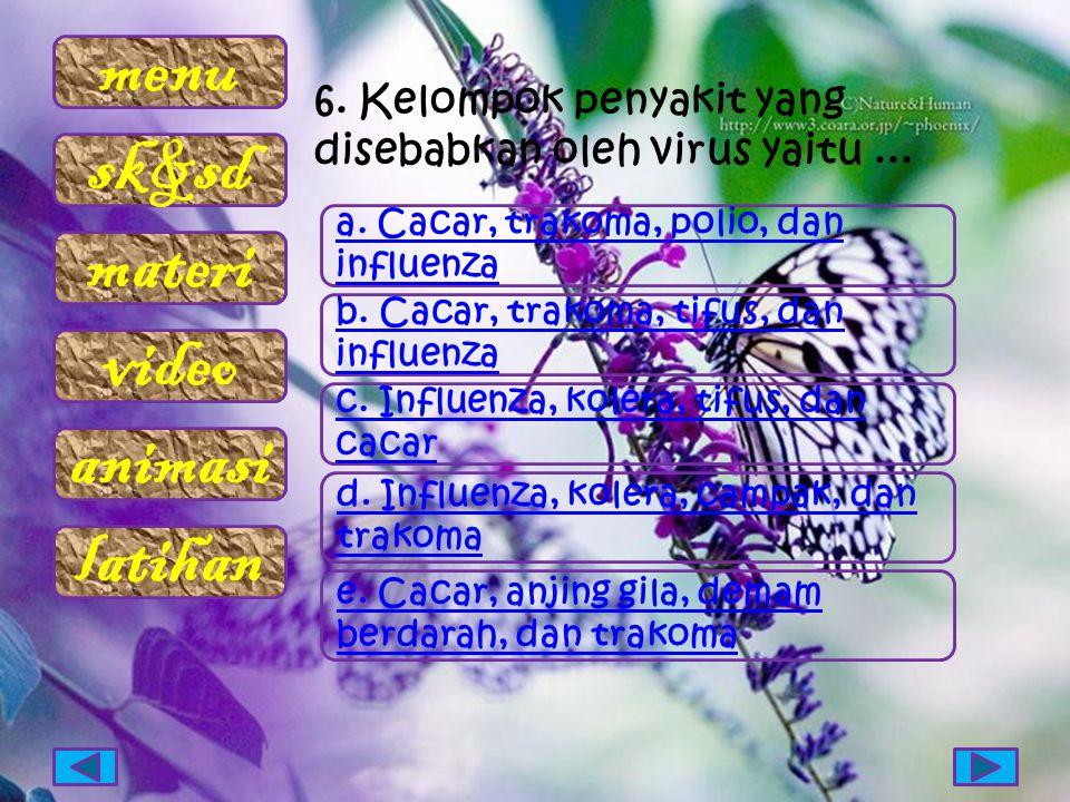 menu sk&sd materi video animasi latihan 6. Kelompok penyakit yang disebabkan oleh virus yaitu... a. Cacar, trakoma, polio, dan influenza b. Cacar, tra