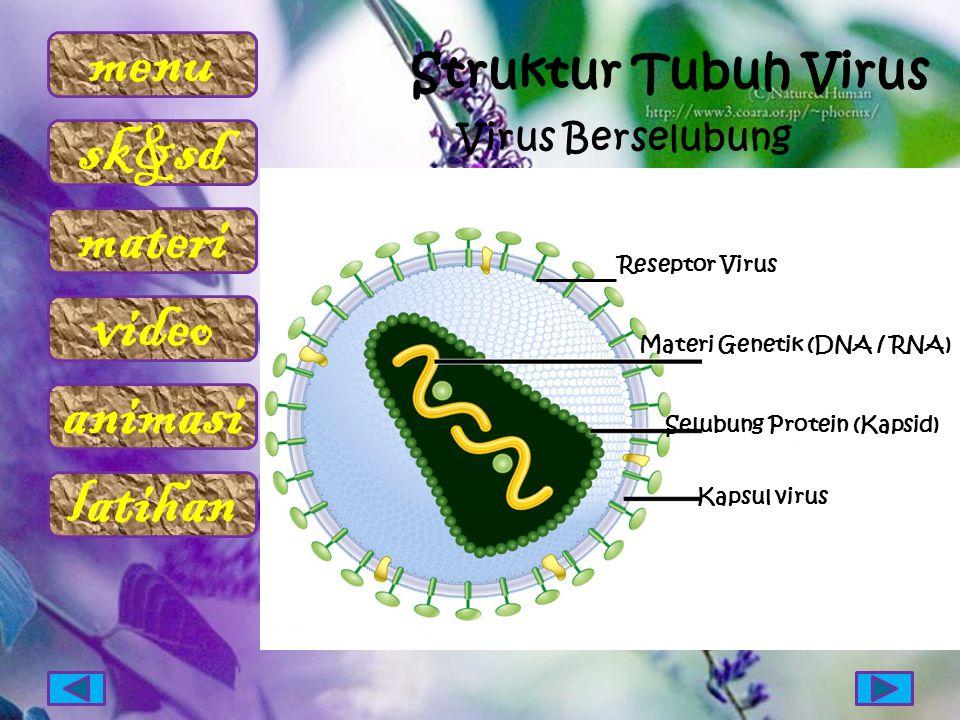 menu sk&sd materi video animasi latihan Virus Berselubung Materi Genetik (DNA / RNA) Selubung Protein (Kapsid) Kapsul virus Reseptor Virus