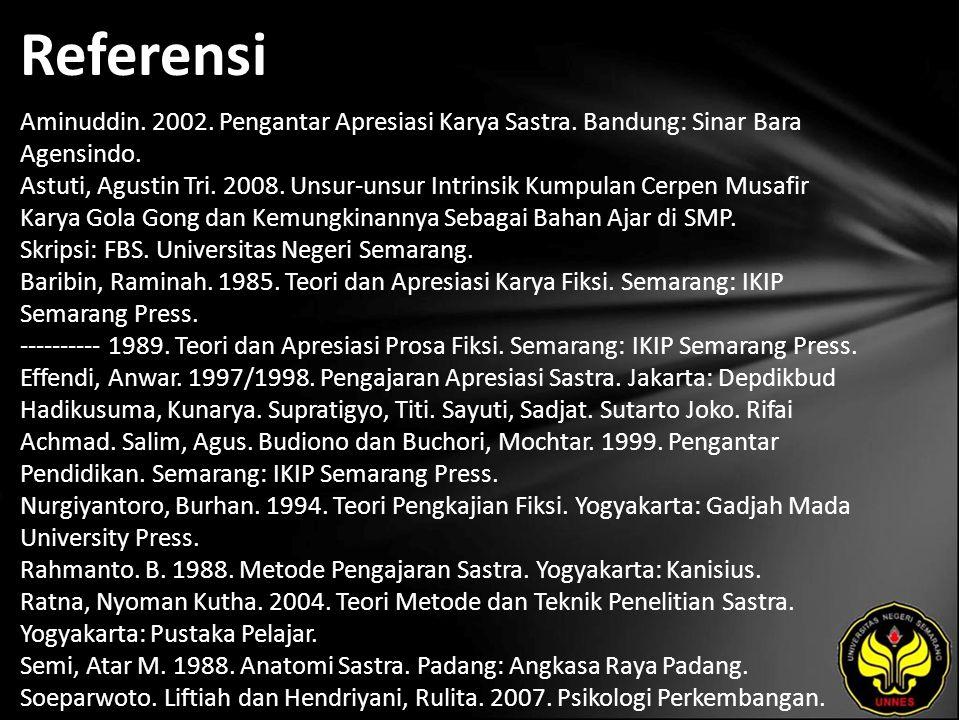 Referensi Aminuddin. 2002. Pengantar Apresiasi Karya Sastra.