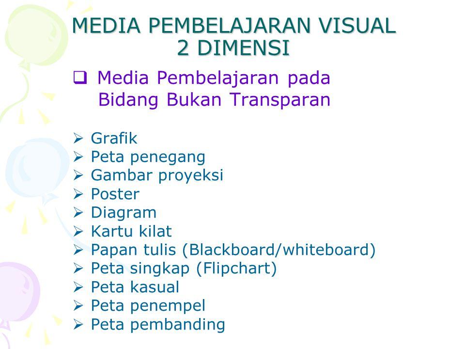 MEDIA PEMBELAJARAN VISUAL 2 DIMENSI  Media Pembelajaran pada Bidang Bukan Transparan  Grafik  Peta penegang  Gambar proyeksi  Poster  Diagram 
