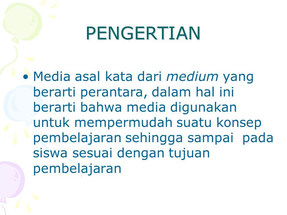 PENGERTIAN Media asal kata dari medium yang berarti perantara, dalam hal ini berarti bahwa media digunakan untuk mempermudah suatu konsep pembelajaran