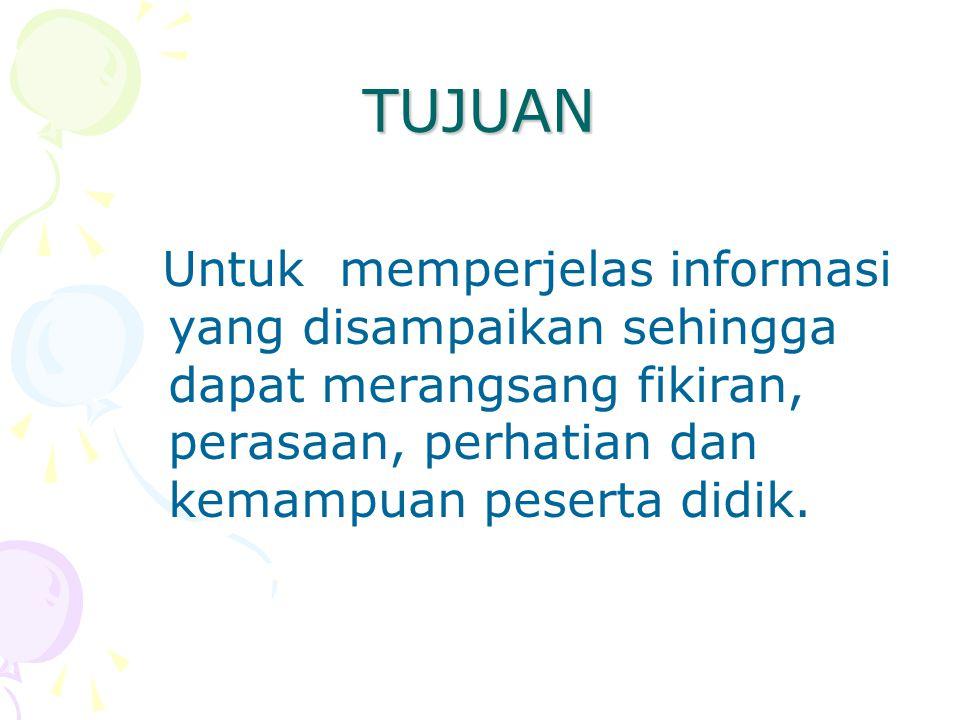 TUJUAN Untuk memperjelas informasi yang disampaikan sehingga dapat merangsang fikiran, perasaan, perhatian dan kemampuan peserta didik.