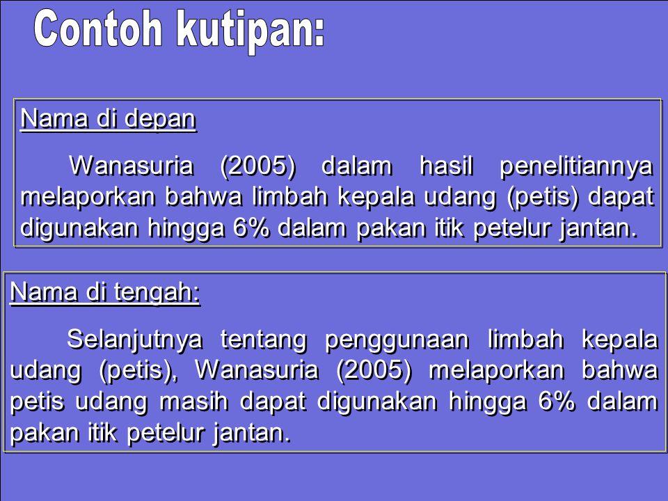 Nama di depan Wanasuria (2005) dalam hasil penelitiannya melaporkan bahwa limbah kepala udang (petis) dapat digunakan hingga 6% dalam pakan itik petel