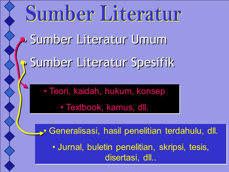 Sumber Literatur Umum Sumber Literatur Spesifik Sumber Literatur Umum Sumber Literatur Spesifik Teori, kaidah, hukum, konsep Textbook, kamus, dll. Teo