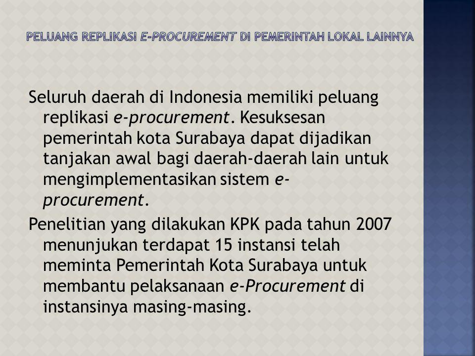 Seluruh daerah di Indonesia memiliki peluang replikasi e-procurement.