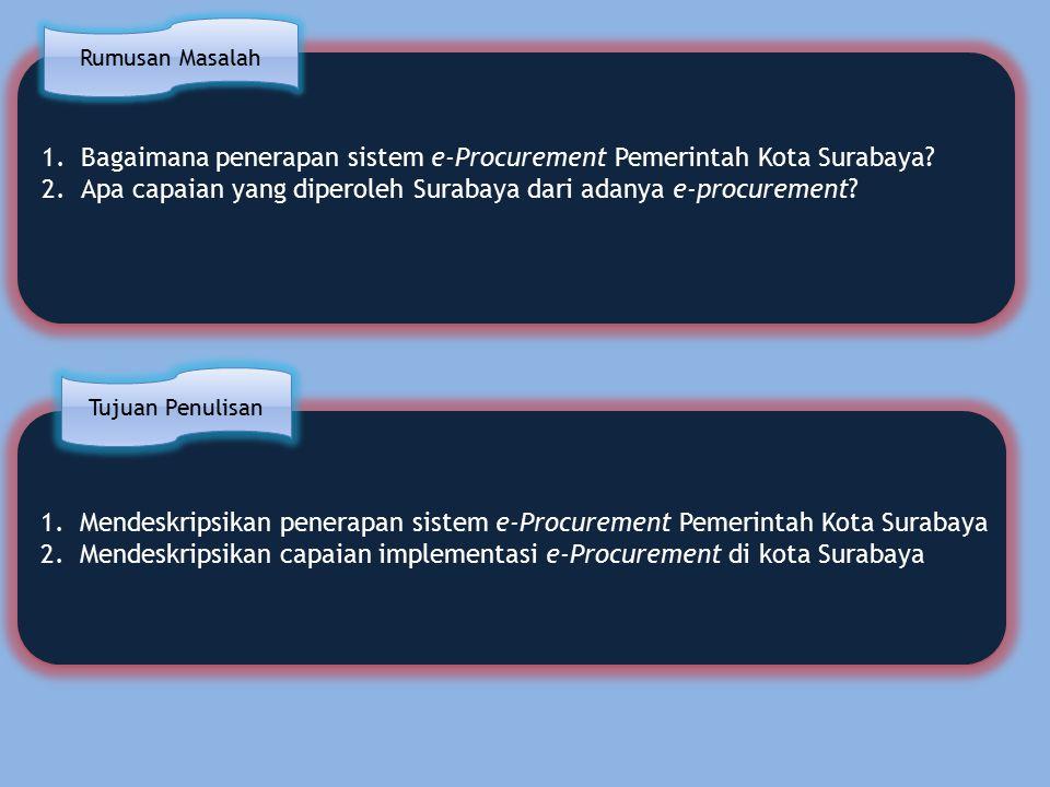 1.Mendeskripsikan penerapan sistem e-Procurement Pemerintah Kota Surabaya 2.Mendeskripsikan capaian implementasi e-Procurement di kota Surabaya 1.Mendeskripsikan penerapan sistem e-Procurement Pemerintah Kota Surabaya 2.Mendeskripsikan capaian implementasi e-Procurement di kota Surabaya 1.Bagaimana penerapan sistem e-Procurement Pemerintah Kota Surabaya.