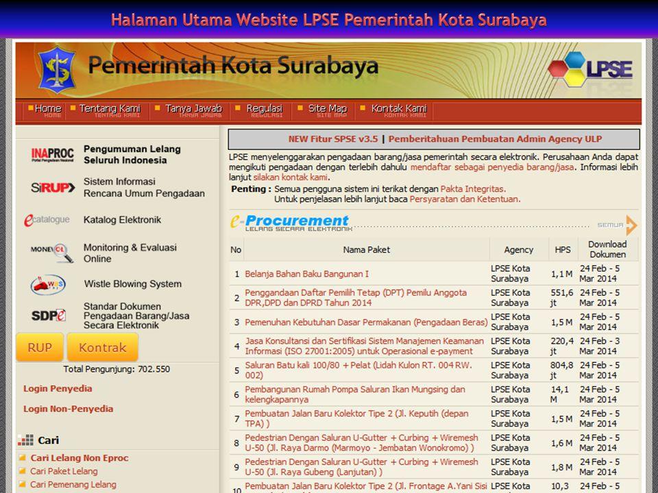 Perjalanan Implementasi E-Procurement di Surabaya (Imam Sonhaji, 2009) : 1.Tahun 2003 dimulai dengan Lelang Serentak dengan fasilitas pendaftaran dan evaluasi prakualifikasi melalui internet.