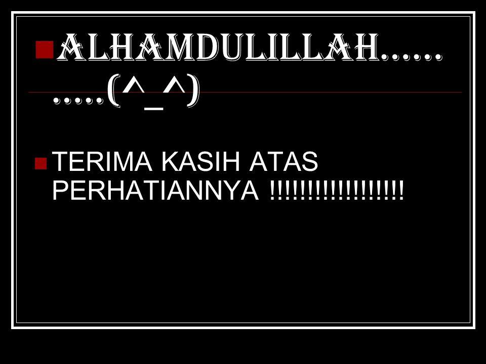 ALHAMDULILLAH…… …..(^_^) TERIMA KASIH ATAS PERHATIANNYA !!!!!!!!!!!!!!!!!!