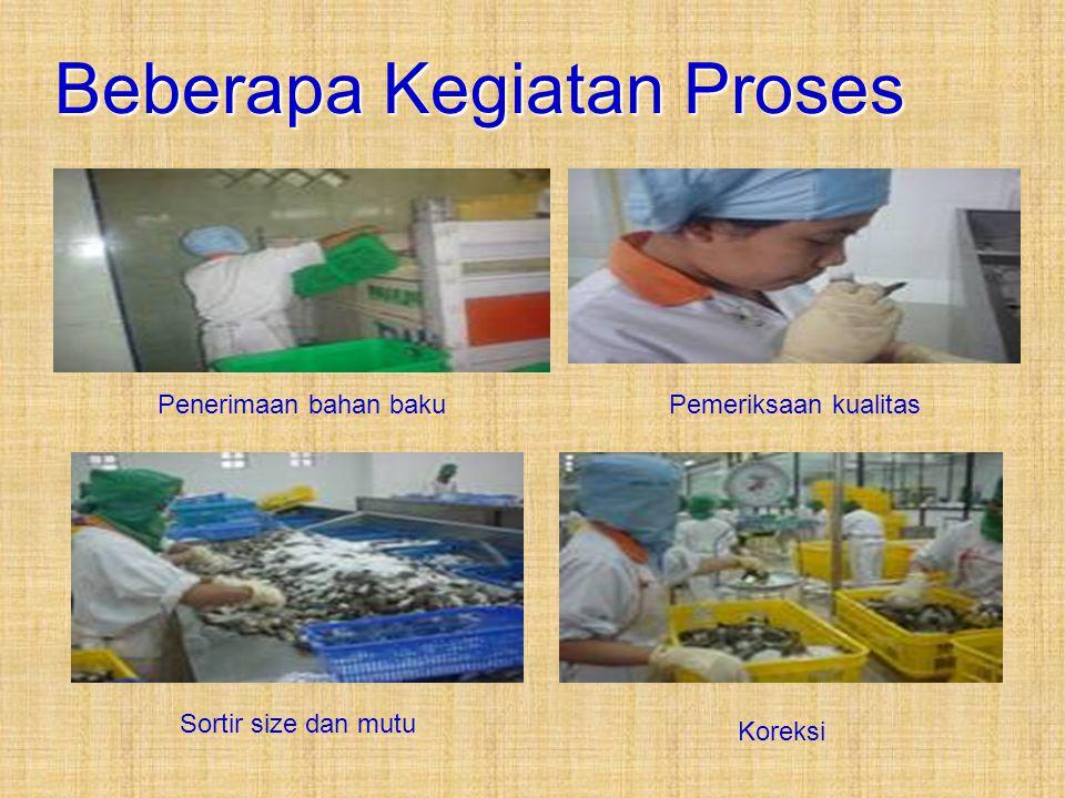 Beberapa Kegiatan Proses Penerimaan bahan bakuPemeriksaan kualitas Sortir size dan mutu Koreksi