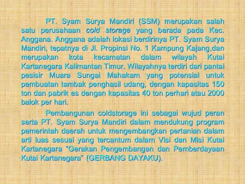 PT. Syam Surya Mandiri (SSM) merupakan salah satu perusahaan cold storage yang berada pada Kec. Anggana. Anggana adalah lokasi berdirinya PT. Syam Sur