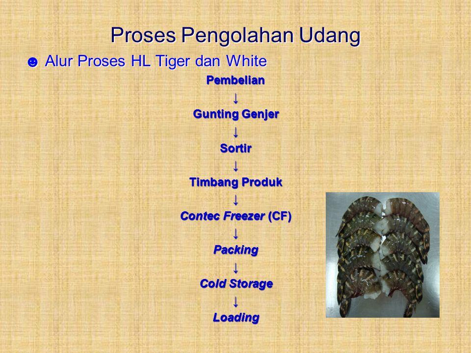 Proses Pengolahan Udang ☻ Alur Proses HL Tiger dan White Pembelian↓ Gunting Genjer ↓Sortir↓ Timbang Produk ↓ Contec Freezer (CF) ↓Packing↓ Cold Storag