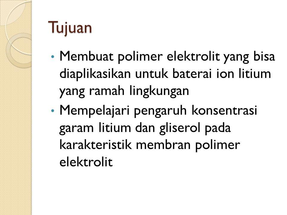 Tujuan Membuat polimer elektrolit yang bisa diaplikasikan untuk baterai ion litium yang ramah lingkungan Mempelajari pengaruh konsentrasi garam litium dan gliserol pada karakteristik membran polimer elektrolit