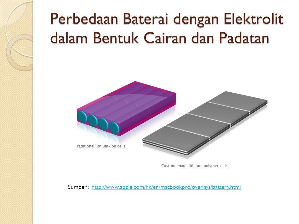 Perbedaan Baterai dengan Elektrolit dalam Bentuk Cairan dan Padatan Sumber : http://www.apple.com/hk/en/macbookpro/overlays/battery.html