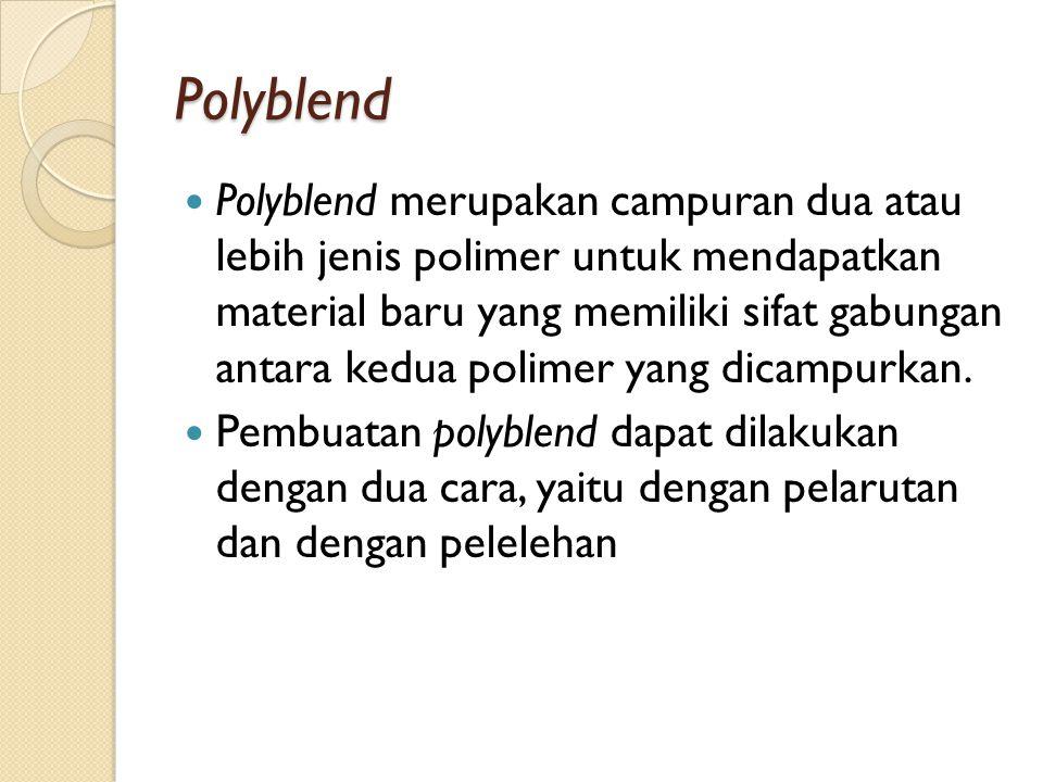 Polyblend Polyblend merupakan campuran dua atau lebih jenis polimer untuk mendapatkan material baru yang memiliki sifat gabungan antara kedua polimer yang dicampurkan.
