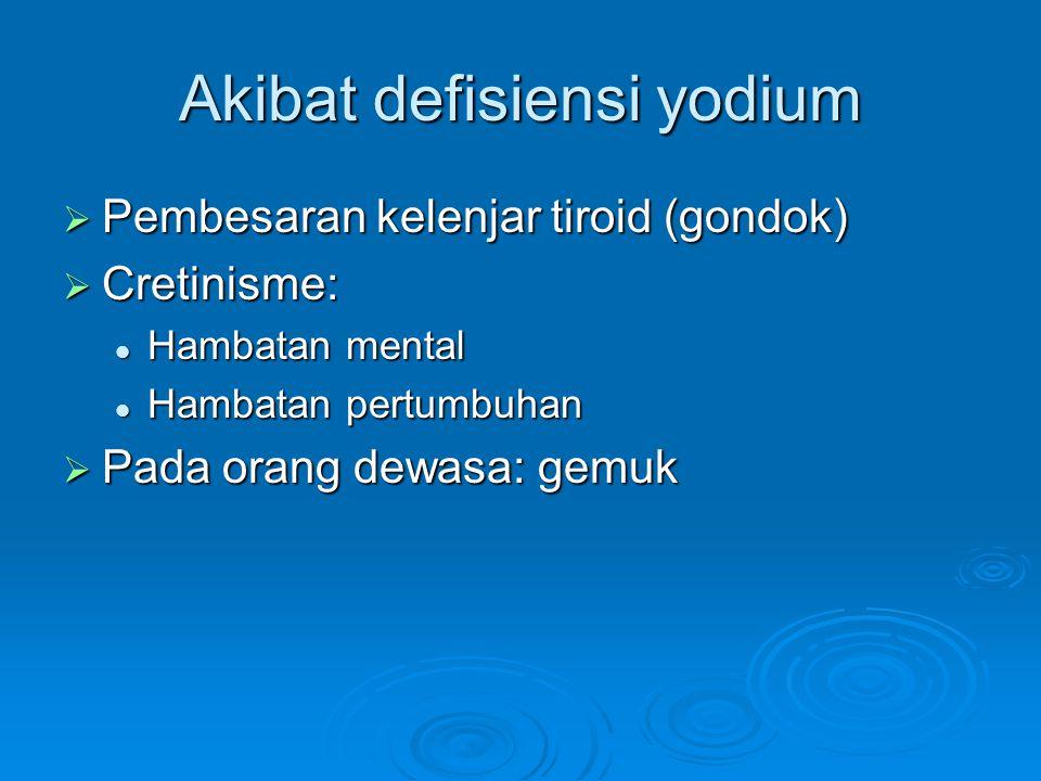 Akibat defisiensi yodium  Pembesaran kelenjar tiroid (gondok)  Cretinisme: Hambatan mental Hambatan mental Hambatan pertumbuhan Hambatan pertumbuhan  Pada orang dewasa: gemuk