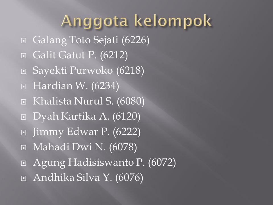  Galang Toto Sejati (6226)  Galit Gatut P. (6212)  Sayekti Purwoko (6218)  Hardian W. (6234)  Khalista Nurul S. (6080)  Dyah Kartika A. (6120) 