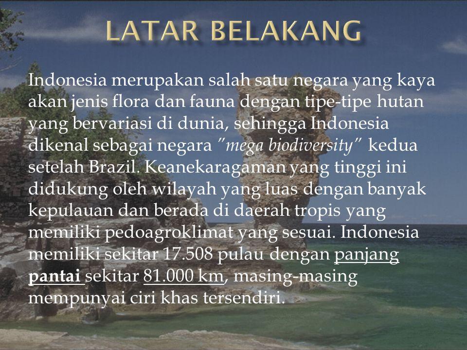 Indonesia merupakan salah satu negara yang kaya akan jenis flora dan fauna dengan tipe-tipe hutan yang bervariasi di dunia, sehingga Indonesia dikenal sebagai negara mega biodiversity kedua setelah Brazil.