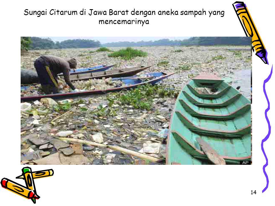 14 Sungai Citarum di Jawa Barat dengan aneka sampah yang mencemarinya