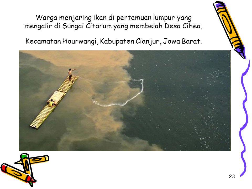 23 Warga menjaring ikan di pertemuan lumpur yang mengalir di Sungai Citarum yang membelah Desa Cihea, Kecamatan Haurwangi, Kabupaten Cianjur, Jawa Barat.