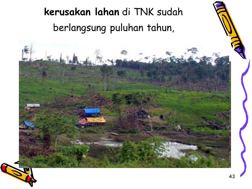 43 kerusakan lahan di TNK sudah berlangsung puluhan tahun,
