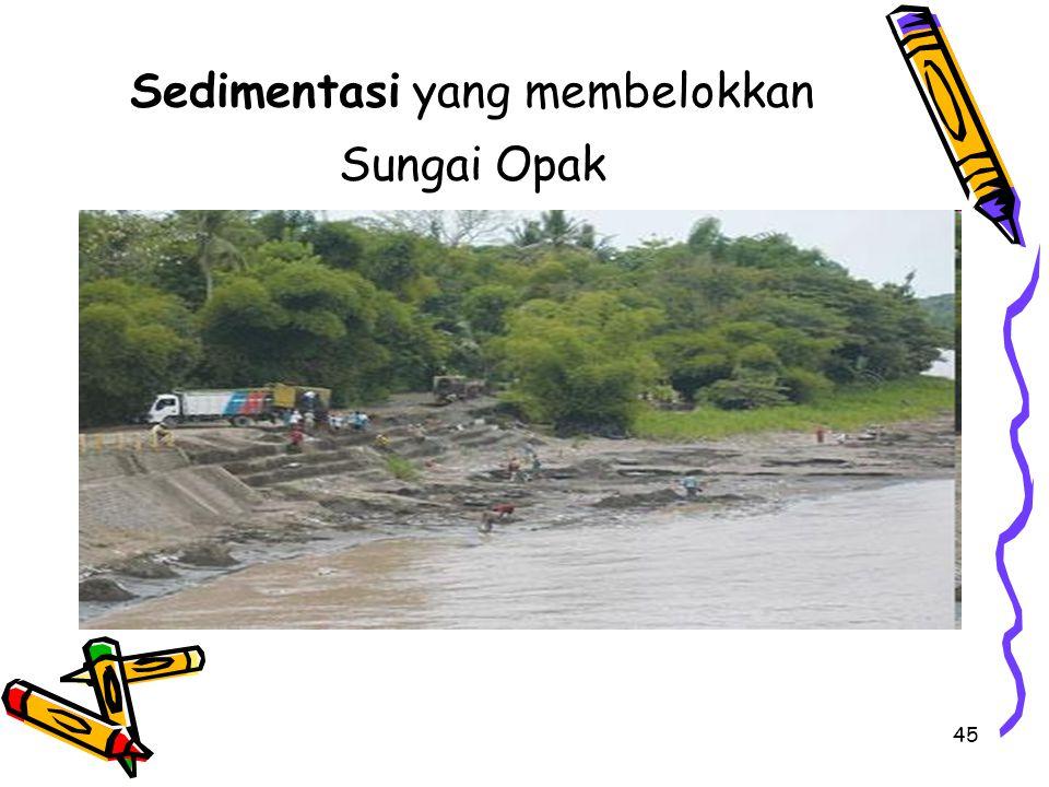 45 Sedimentasi yang membelokkan Sungai Opak