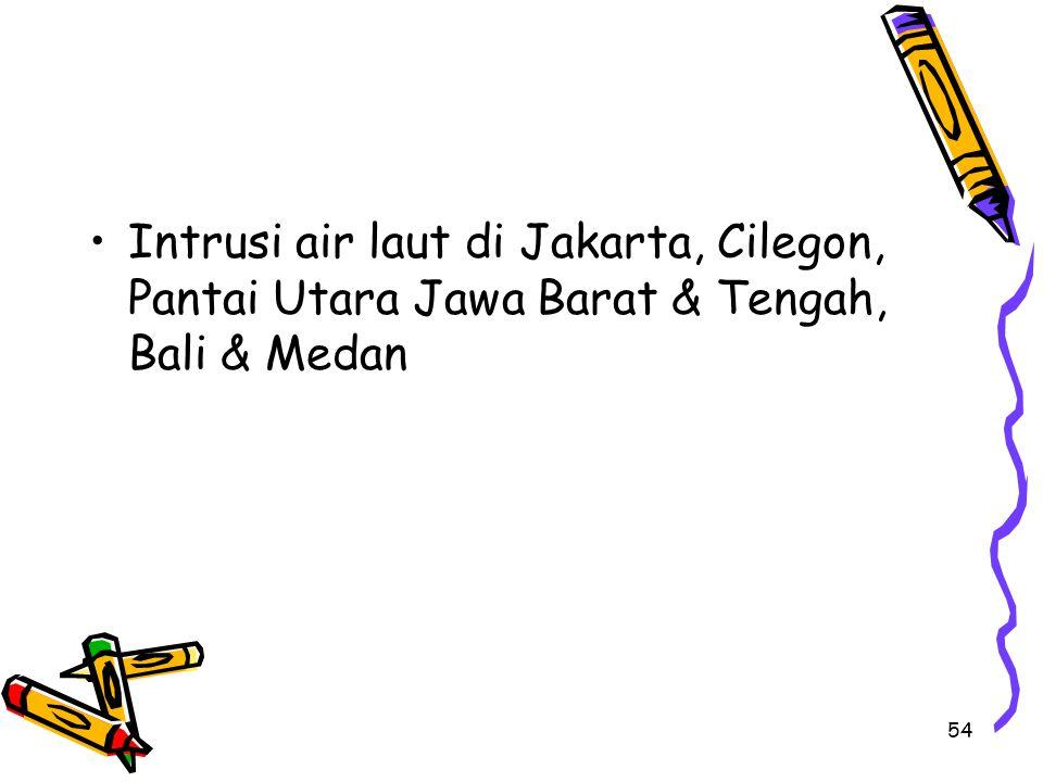 54 Intrusi air laut di Jakarta, Cilegon, Pantai Utara Jawa Barat & Tengah, Bali & Medan