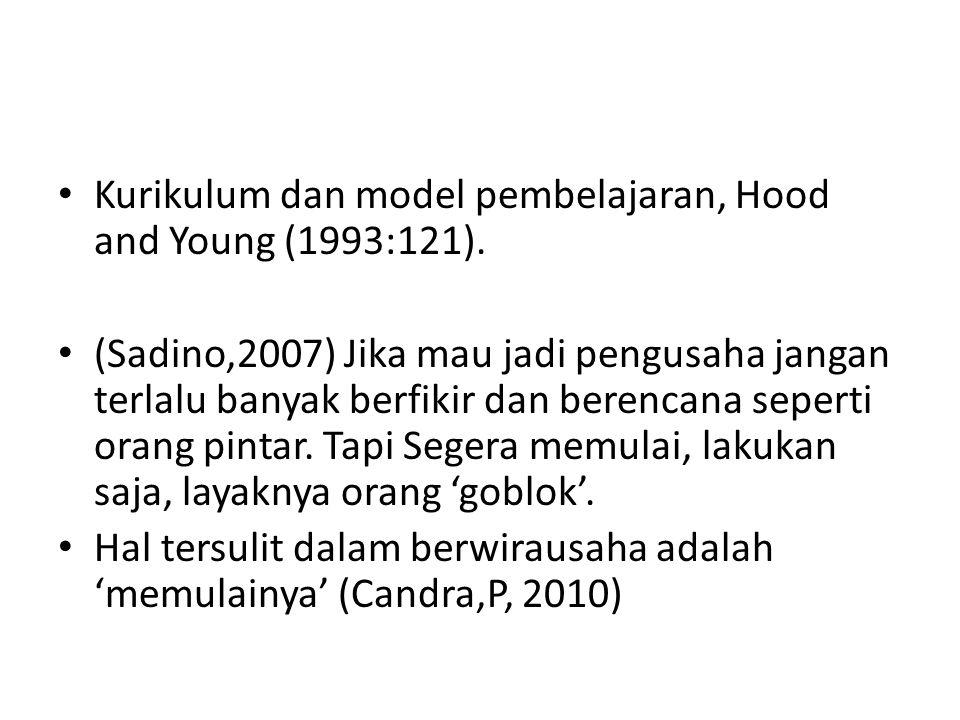 Kurikulum dan model pembelajaran, Hood and Young (1993:121). (Sadino,2007) Jika mau jadi pengusaha jangan terlalu banyak berfikir dan berencana sepert