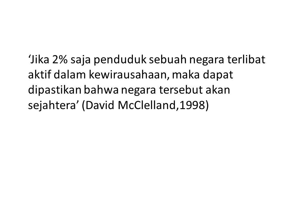 'Jika 2% saja penduduk sebuah negara terlibat aktif dalam kewirausahaan, maka dapat dipastikan bahwa negara tersebut akan sejahtera' (David McClelland,1998)