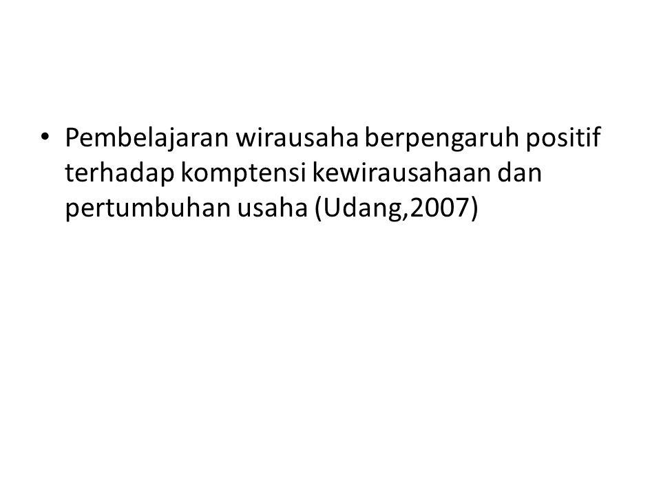 Pembelajaran wirausaha berpengaruh positif terhadap komptensi kewirausahaan dan pertumbuhan usaha (Udang,2007)
