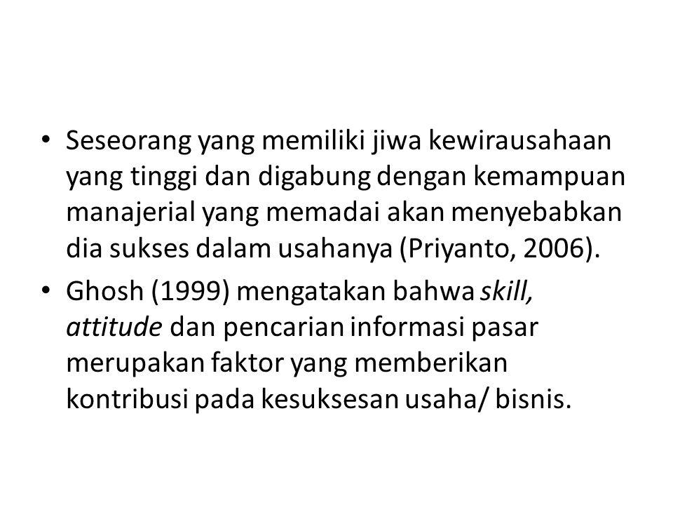 Seseorang yang memiliki jiwa kewirausahaan yang tinggi dan digabung dengan kemampuan manajerial yang memadai akan menyebabkan dia sukses dalam usahanya (Priyanto, 2006).