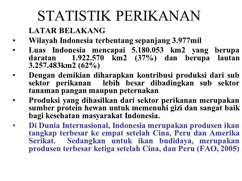 -Produksi perikanan Indonesia tahun 2009 =10,065 juta ton, tahun 2010 =10,76 juta ton, dan tahun 2014 diperkirakan 22,39 juta ton -Produksi tersebut tahun 2010 dari perikanan budidaya sebanyak 5,38 juta ton dan tahun 2014 diperkirakan 16,89 juta ton atau meningkat 323 persen -Konsumsi ikan tahun 2009 sebesar 15.39 kg/kapita/tahun -Tahun-tahun berikutnya meningkat rata-rata 5,96 kg/kapita/tahun