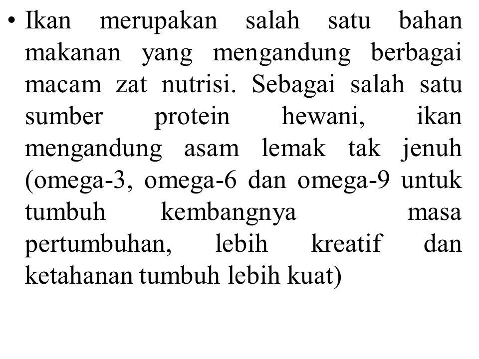 Manfaat Ikan 1.Kesehatan kardiovaskular. 2. Menurunkan tekanan darah 3.