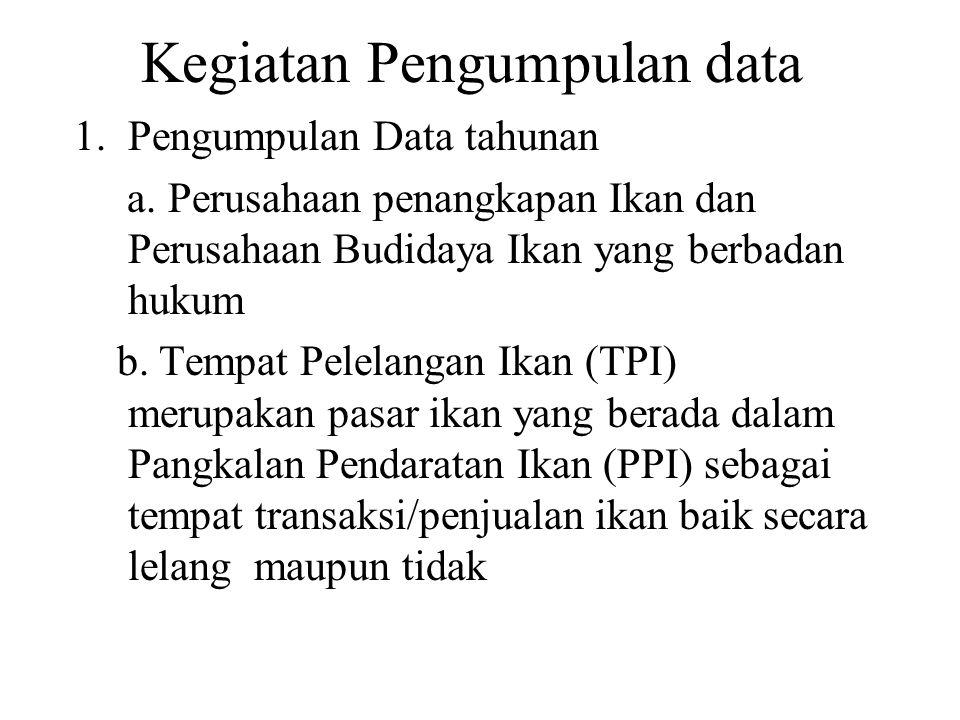 KONSEP DEFINISI Pelabuhan perikanan adalah pelabuhan perikanan yang termasuk ketegori sedang/besar yaitu type A, B, dan C PP ini terdiri dari PPS, PPN dan PPP Biasanya dalam PP terdapat TPI namun data yang dicatat menggunakan Daftar-PP adalah data produksi ikan selainyang dicatat di TPI