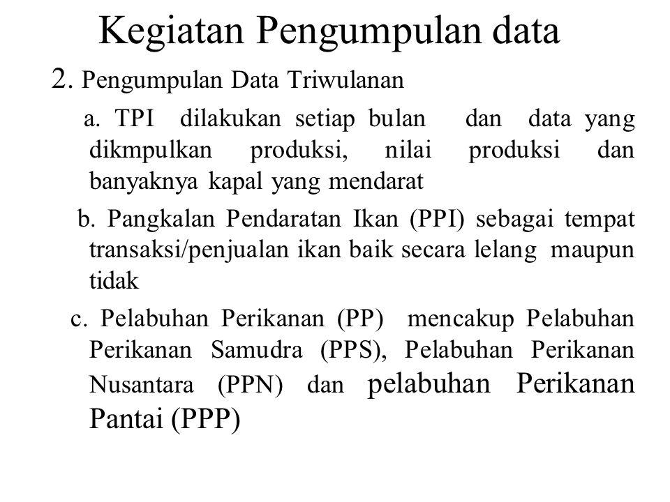 TATA CARA PENGISIAN LAPORAN TRIWULANAN PELABUHAN PERIKANAN (PP) (DAFTAR-PP) (file kusioner) Tujuan Daftar-PP digunakan untuk memperoleh data produksi ikan yang didaratkan di Pelabuhan Perikanan (PP) selain yang dijual di Tempat Pelelangan Ikan (TPI), dan dilaporkan setiap triwulan.