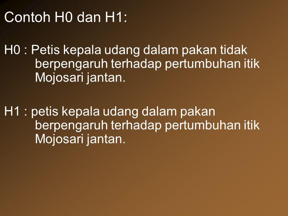 Contoh H0 dan H1: H0 : Petis kepala udang dalam pakan tidak berpengaruh terhadap pertumbuhan itik Mojosari jantan. H1 : petis kepala udang dalam pakan