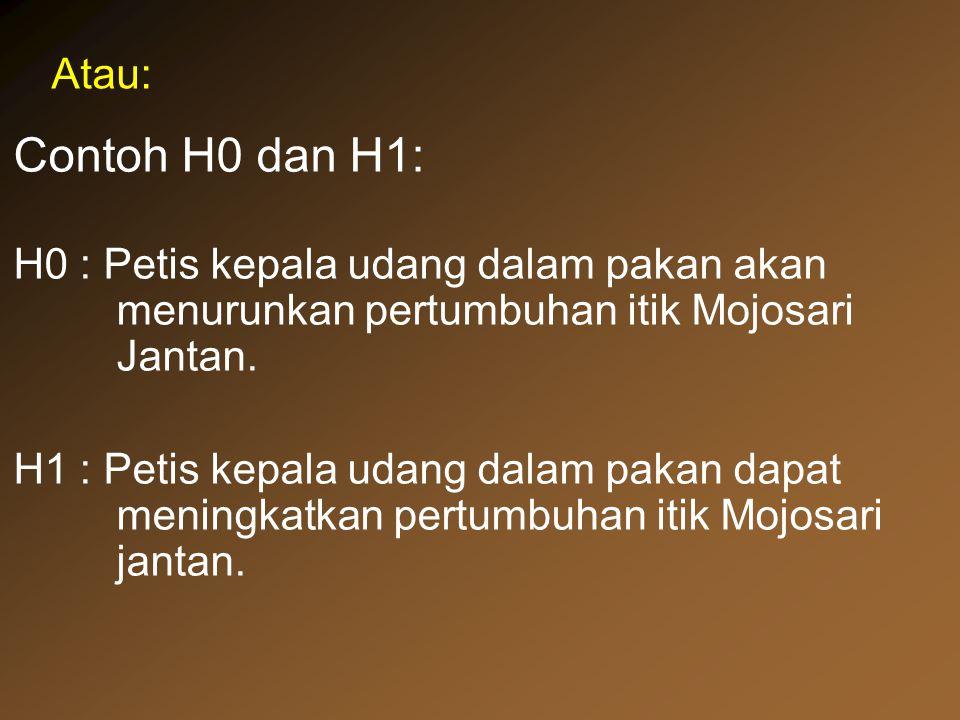 Contoh H0 dan H1: H0 : Petis kepala udang dalam pakan akan menurunkan pertumbuhan itik Mojosari Jantan. H1 : Petis kepala udang dalam pakan dapat meni
