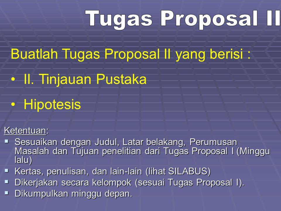 Buatlah Tugas Proposal II yang berisi : II. Tinjauan Pustaka Hipotesis Ketentuan:  Sesuaikan dengan Judul, Latar belakang, Perumusan Masalah dan Tuju