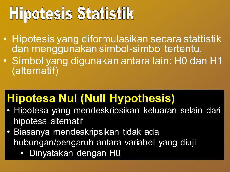 Hipotesis yang diformulasikan secara stattistik dan menggunakan simbol-simbol tertentu. Simbol yang digunakan antara lain: H0 dan H1 (alternatif) Hipo