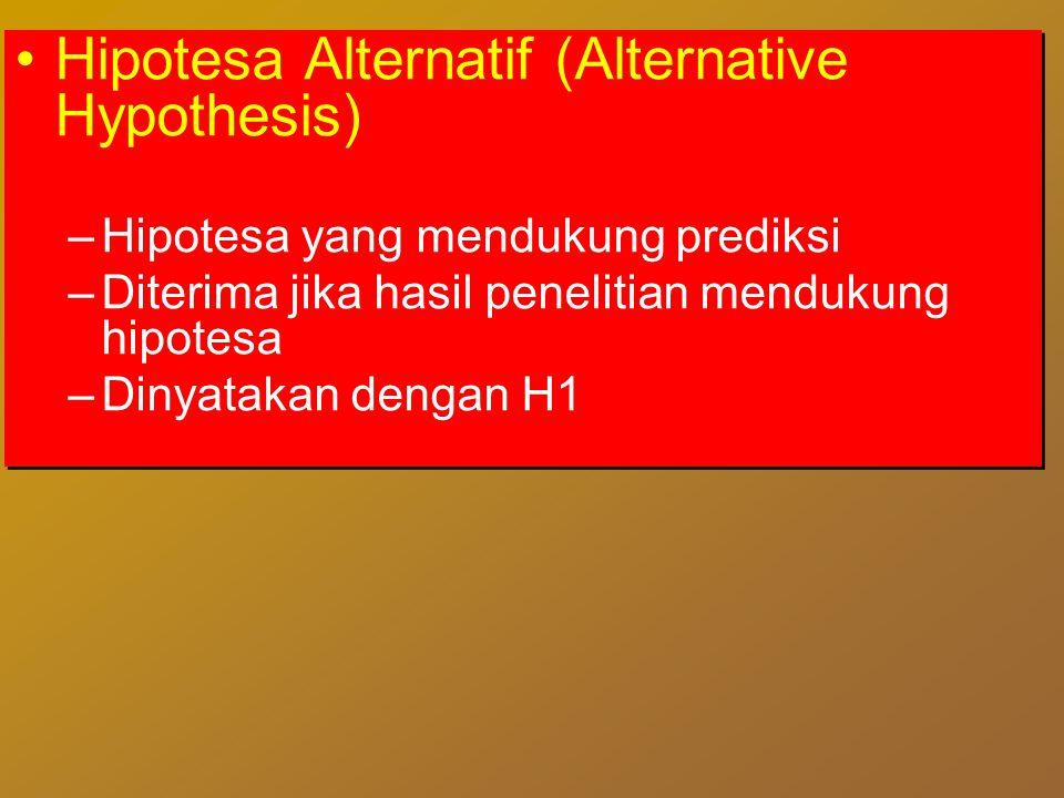 Hipotesa Alternatif (Alternative Hypothesis) –Hipotesa yang mendukung prediksi –Diterima jika hasil penelitian mendukung hipotesa –Dinyatakan dengan H1 Hipotesa Alternatif (Alternative Hypothesis) –Hipotesa yang mendukung prediksi –Diterima jika hasil penelitian mendukung hipotesa –Dinyatakan dengan H1