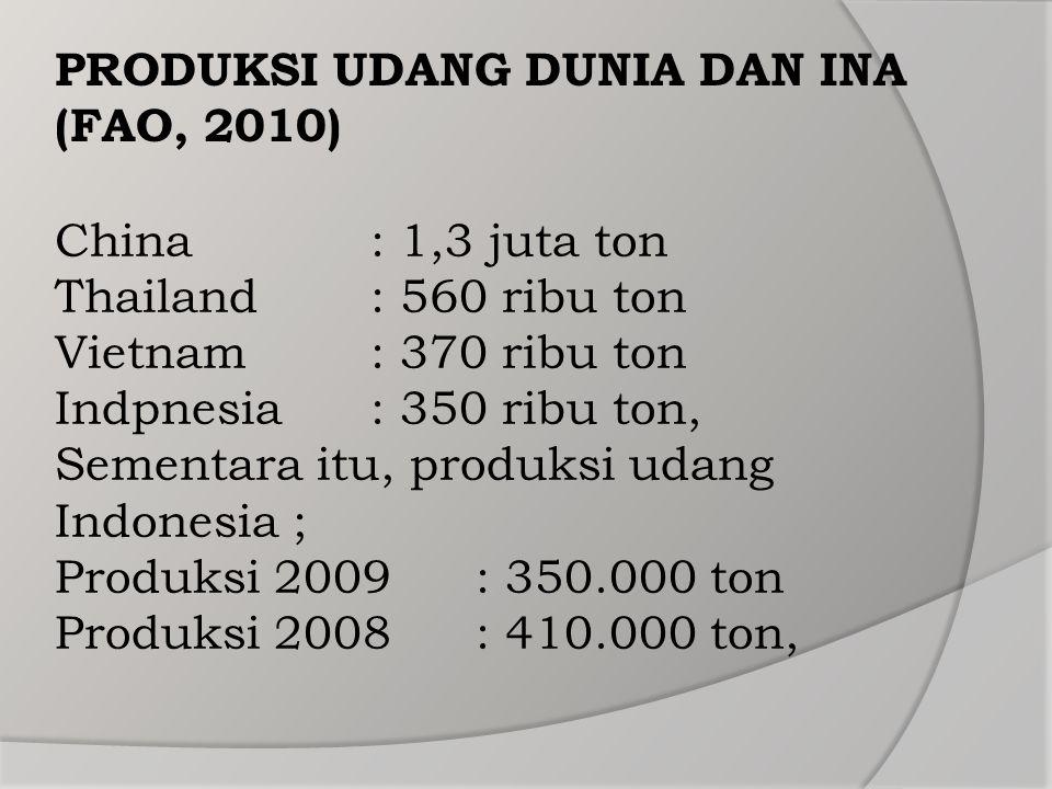 China: 1,3 juta ton Thailand: 560 ribu ton Vietnam: 370 ribu ton Indpnesia: 350 ribu ton, Sementara itu, produksi udang Indonesia ; Produksi 2009: 350