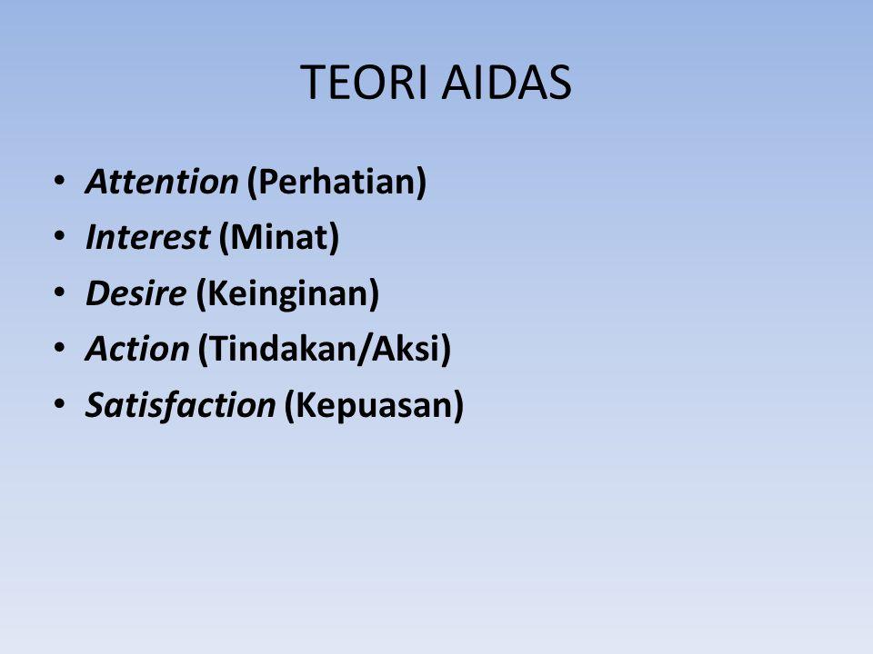 TEORI AIDAS Attention (Perhatian) Interest (Minat) Desire (Keinginan) Action (Tindakan/Aksi) Satisfaction (Kepuasan)