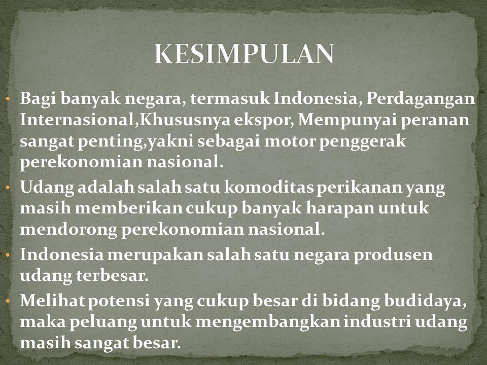 Bagi banyak negara, termasuk Indonesia, Perdagangan Internasional,Khususnya ekspor, Mempunyai peranan sangat penting,yakni sebagai motor penggerak perekonomian nasional.