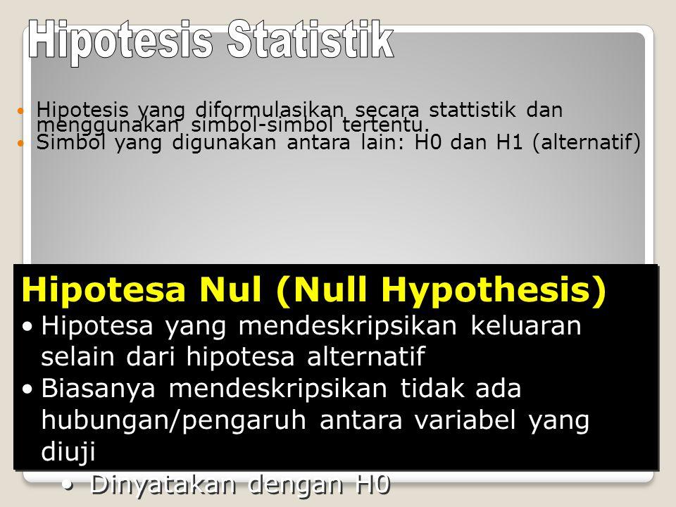 Hipotesis yang diformulasikan secara stattistik dan menggunakan simbol-simbol tertentu.