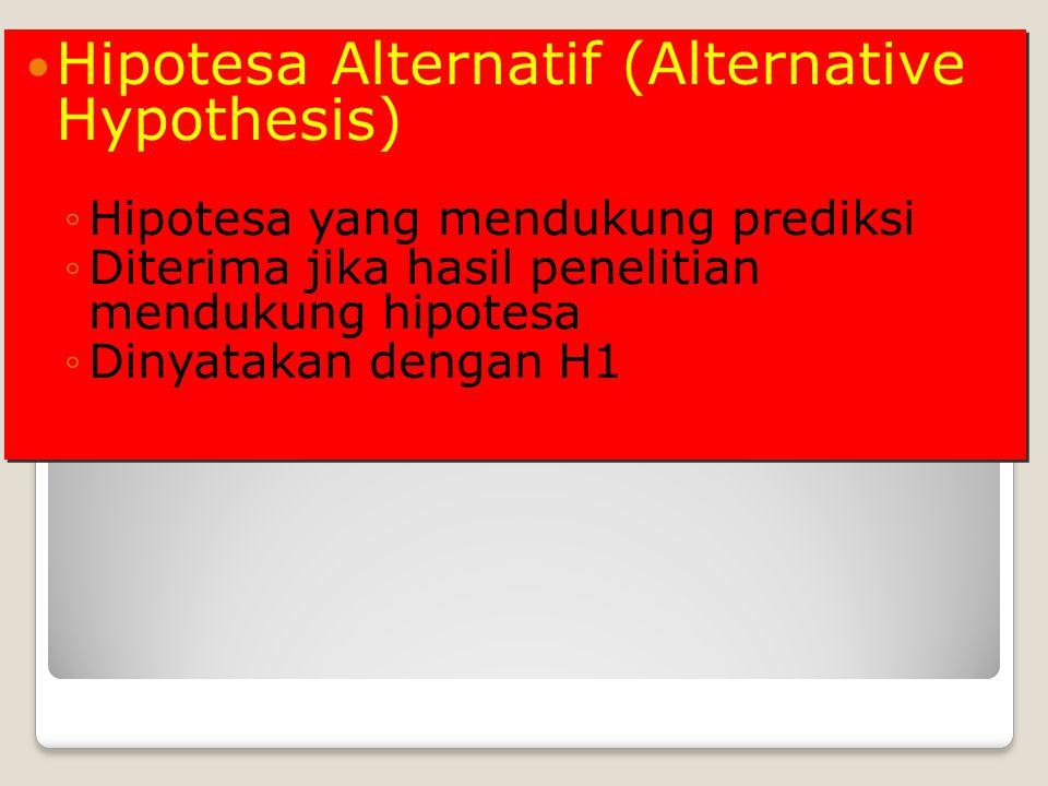 Hipotesa Alternatif (Alternative Hypothesis) ◦Hipotesa yang mendukung prediksi ◦Diterima jika hasil penelitian mendukung hipotesa ◦Dinyatakan dengan H1 Hipotesa Alternatif (Alternative Hypothesis) ◦Hipotesa yang mendukung prediksi ◦Diterima jika hasil penelitian mendukung hipotesa ◦Dinyatakan dengan H1