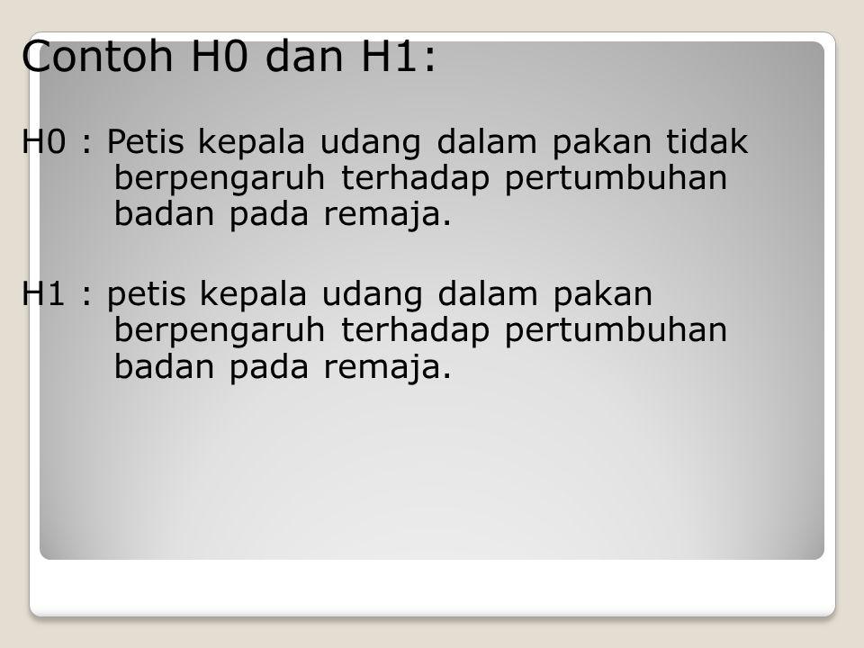 Contoh H0 dan H1: H0 : Petis kepala udang dalam pakan tidak berpengaruh terhadap pertumbuhan badan pada remaja.