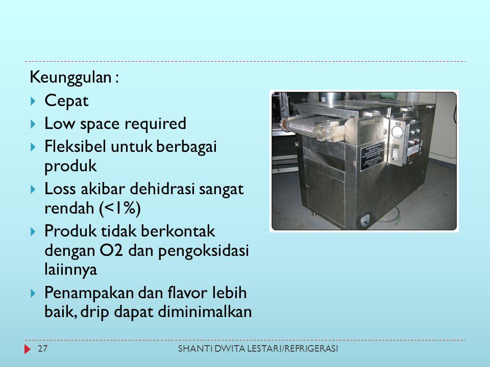 Keunggulan :  Cepat  Low space required  Fleksibel untuk berbagai produk  Loss akibar dehidrasi sangat rendah (<1%)  Produk tidak berkontak denga