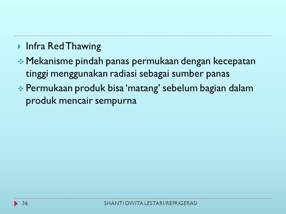 SHANTI DWITA LESTARI/REFRIGERASI36  Infra Red Thawing  Mekanisme pindah panas permukaan dengan kecepatan tinggi menggunakan radiasi sebagai sumber p