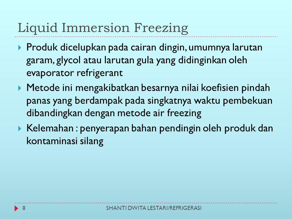 Liquid Immersion Freezing  Produk dicelupkan pada cairan dingin, umumnya larutan garam, glycol atau larutan gula yang didinginkan oleh evaporator ref